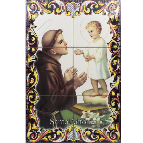 St. Anthony & The Child Portuguese Ceramic Tile Art Wall Panel Mural Decor