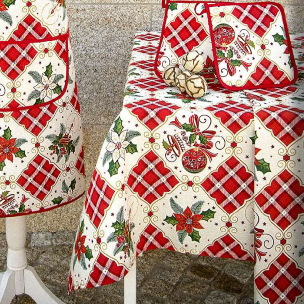 Limol 100% Cotton Christmas Tablecloth Made in Portugal - Various Sizes