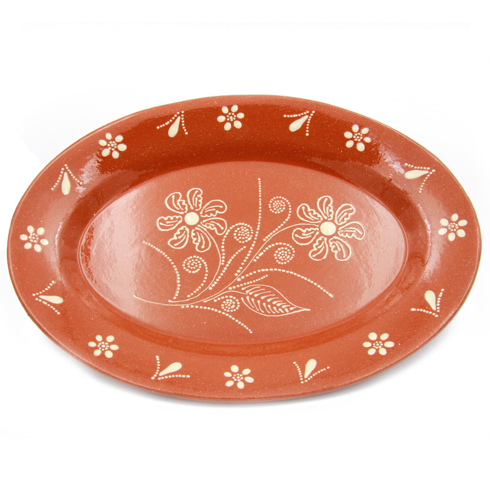 Traditional Portuguese Pottery Hand-painted Vintage Clay Terracotta Serving Platter