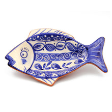 Hand-painted Vintage Traditional Portuguese Terracotta Fish Shape Plate