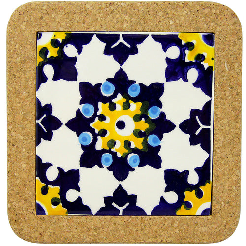Portugal Gifts Hand Painted Tile Trivet With Cork - Various Patterns