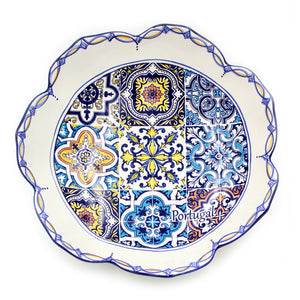 Hand-painted Traditional Portuguese Ceramic Tulip Salad Bowl