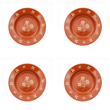 Portuguese Hand-painted Terracotta Soup Plate - Set of 4