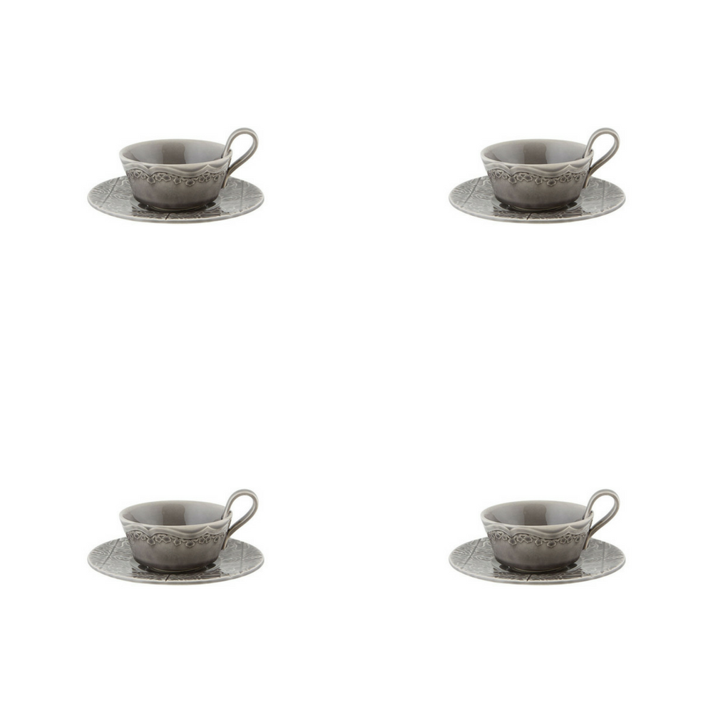 Bordallo Pinheiro Rua Nova Tea Cup and Saucer Anthracite - Set of 4