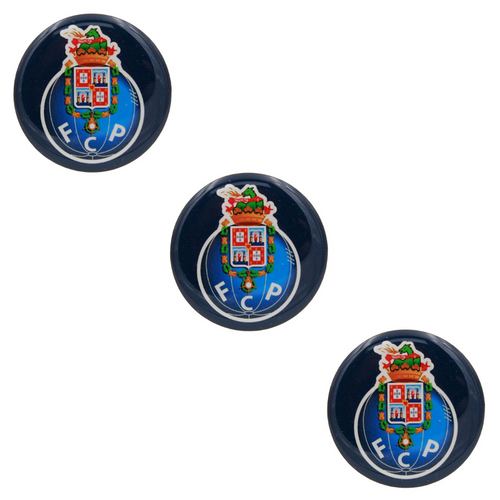 2 Inch Round FC Porto Resin Domed 3D Decal Car Sticker - Set of 3