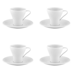 Vista Alegre Porcelain Utopia Set of 4 Espresso Cups and Saucers