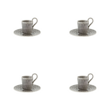 Load image into Gallery viewer, Bordallo Pinheiro Rua Nova Espresso Coffee Cup and Saucer Anthracite - Set of 4