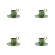Load image into Gallery viewer, Bordallo Pinheiro Rua Nova Espresso Coffee Cup and Saucer Green - Set of 4