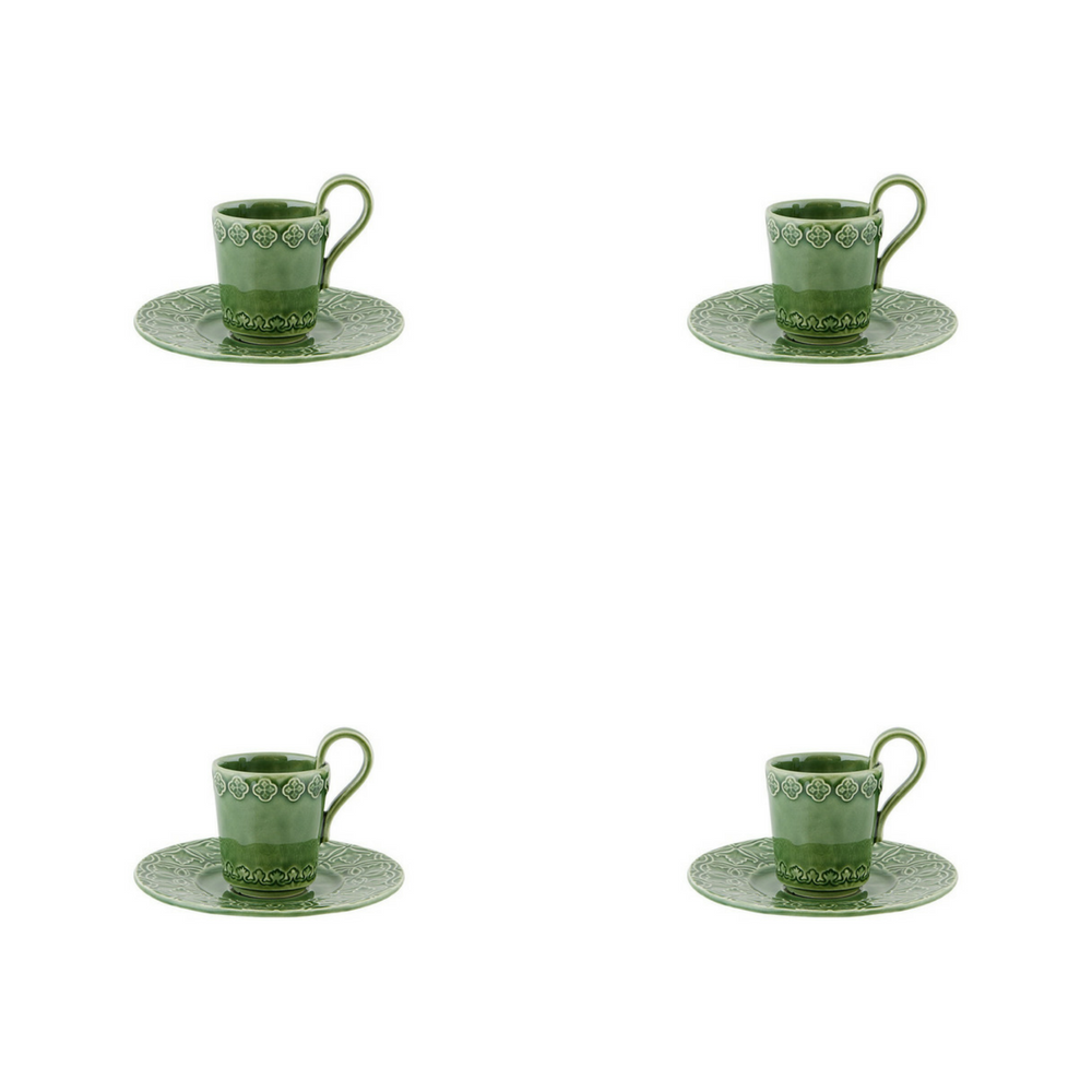 Bordallo Pinheiro Rua Nova Espresso Coffee Cup and Saucer Green - Set of 4