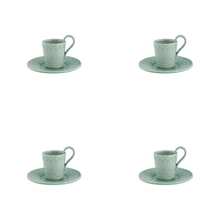 Load image into Gallery viewer, Bordallo Pinheiro Rua Nova Espresso Coffee Cup and Saucer Morning Blue - Set of 4