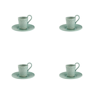Bordallo Pinheiro Rua Nova Espresso Coffee Cup and Saucer Morning Blue - Set of 4