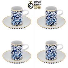 Load image into Gallery viewer, Vista Alegre Porcelain Transatlântica Coffee Cup & Saucer - Set Of 4