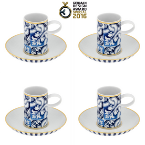 Vista Alegre Porcelain Transatlântica Coffee Cup & Saucer - Set Of 4