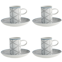 Load image into Gallery viewer, Vista Alegre Porcelain Orquestra Coffee Cup and Saucer Blue - Set of 4