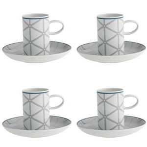 Vista Alegre Porcelain Orquestra Coffee Cup and Saucer Blue - Set of 4