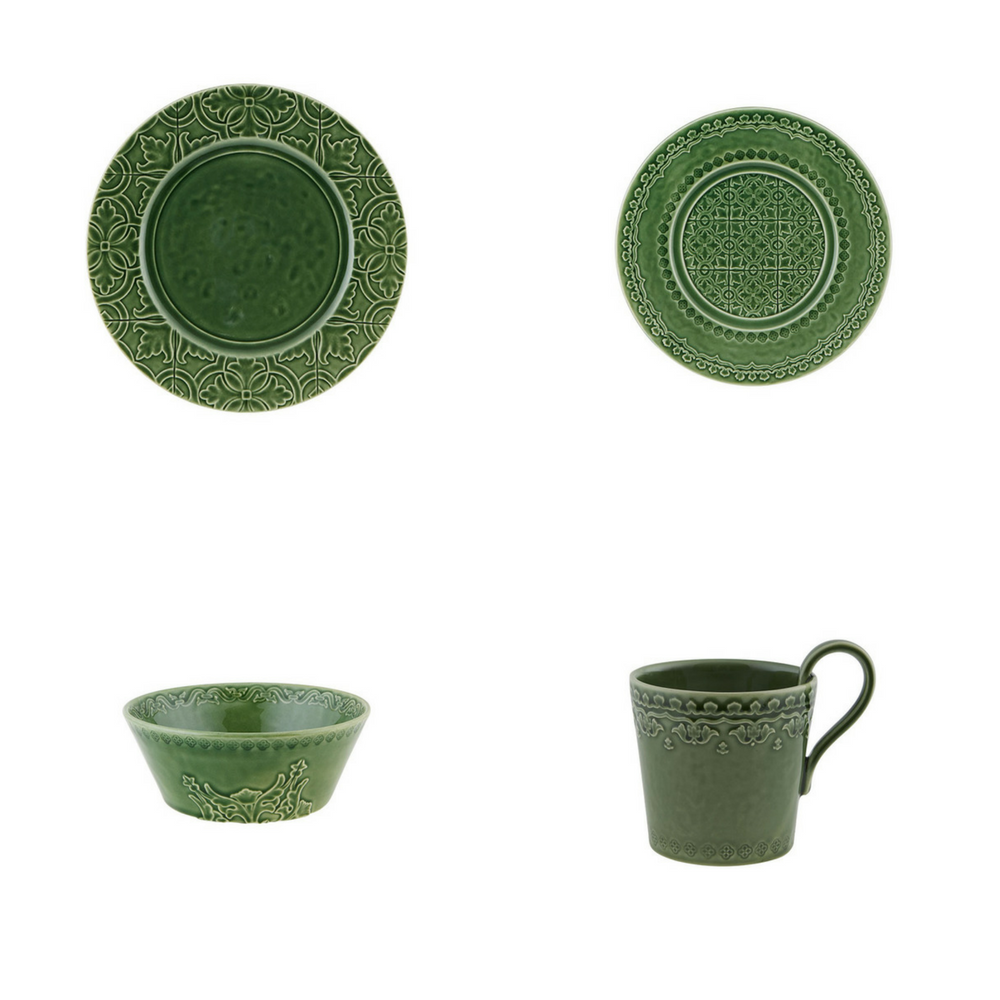 Bordallo Pinheiro Rua Nova 16 Pieces Dinnerware Set - Green