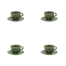 Load image into Gallery viewer, Bordallo Pinheiro Cabbage Espresso Cup And Saucer - Set of 4