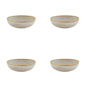 Casa Alegre Gold Stone Stoneware Bowl 15 Oz White - Set of 4