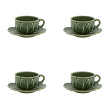 Load image into Gallery viewer, Bordallo Pinheiro Cabbage Tea Cup And Saucer - Set of 4