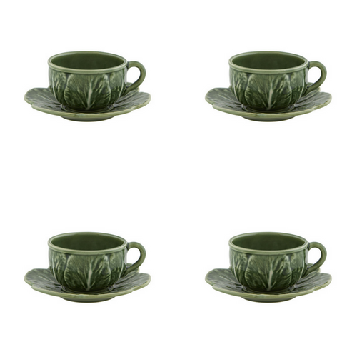 Bordallo Pinheiro Cabbage Tea Cup And Saucer - Set of 4