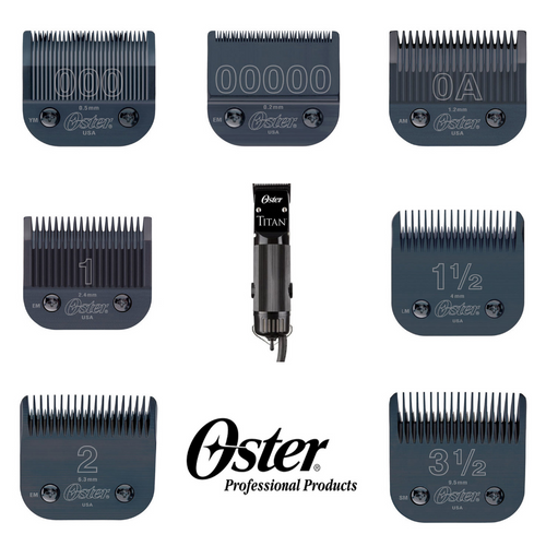 Oster 76076-310 Titan 2 Professional Hair Clipper With 7 Blade Combo 110 Volts