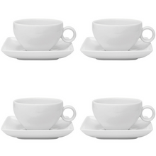 Load image into Gallery viewer, Vista Alegre Porcelain Carré White Tea Cup & Saucer - Set of 4