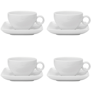 Vista Alegre Porcelain Carré White Tea Cup & Saucer - Set of 4