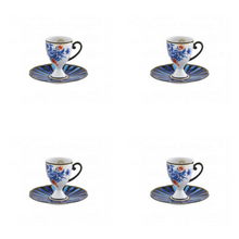 Load image into Gallery viewer, Vista Alegre Porcelain Cannaregio Set of 4 Espresso Cups and Saucers