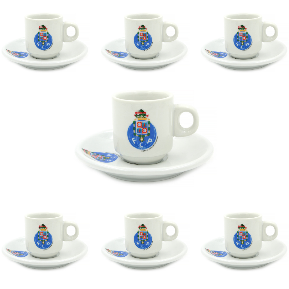 FC Porto Set Of 6 Espresso Cup and Saucers With Gift Box