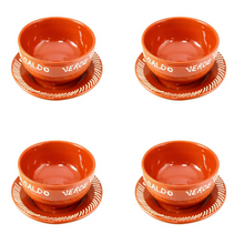Set of 4 Traditional Portuguese Terracotta Hand-painted Collard Greens Soup Bowl With Plate