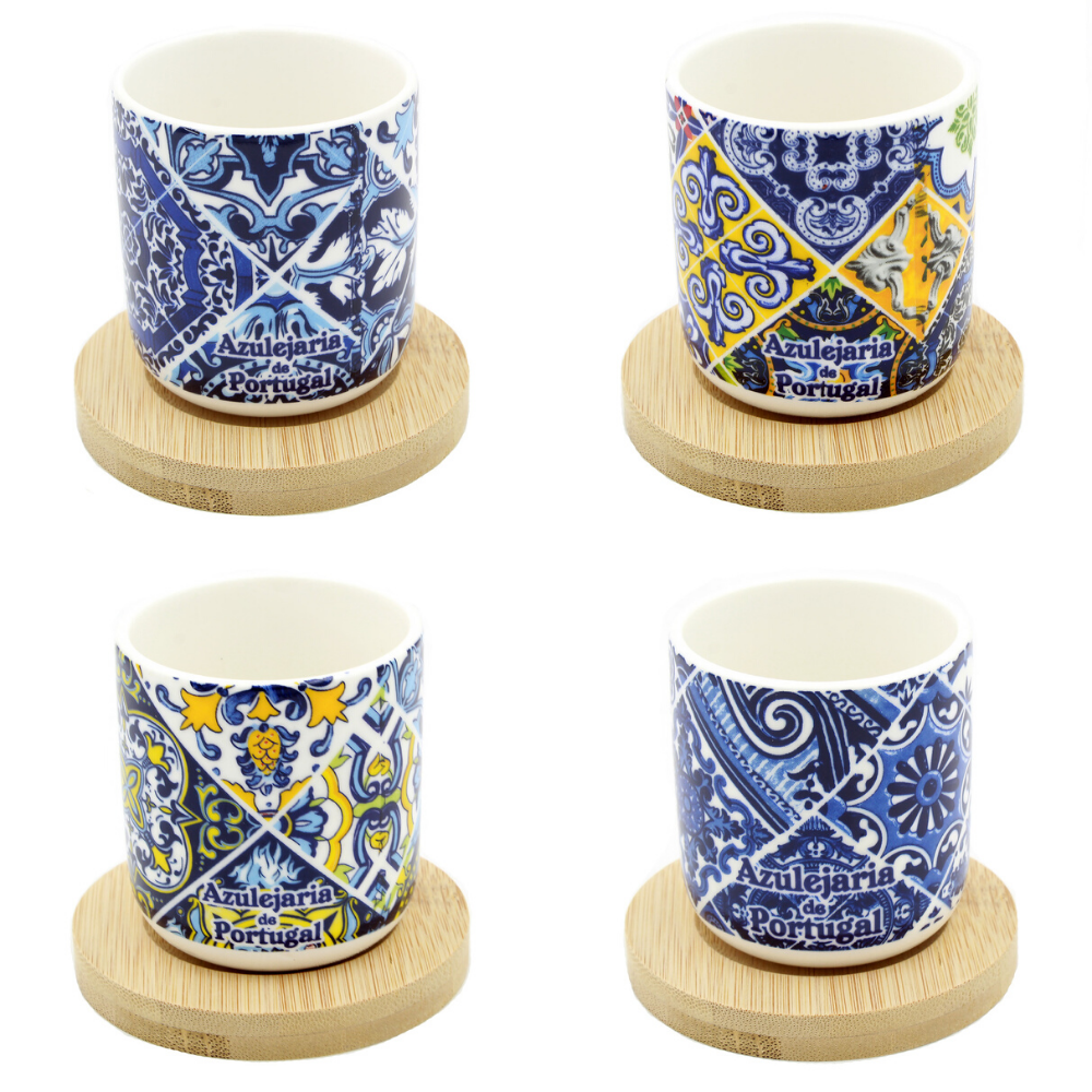 Portuguese Ceramic Espresso Cups With Bamboo Coaster Souvenir From Portugal - Set of 4