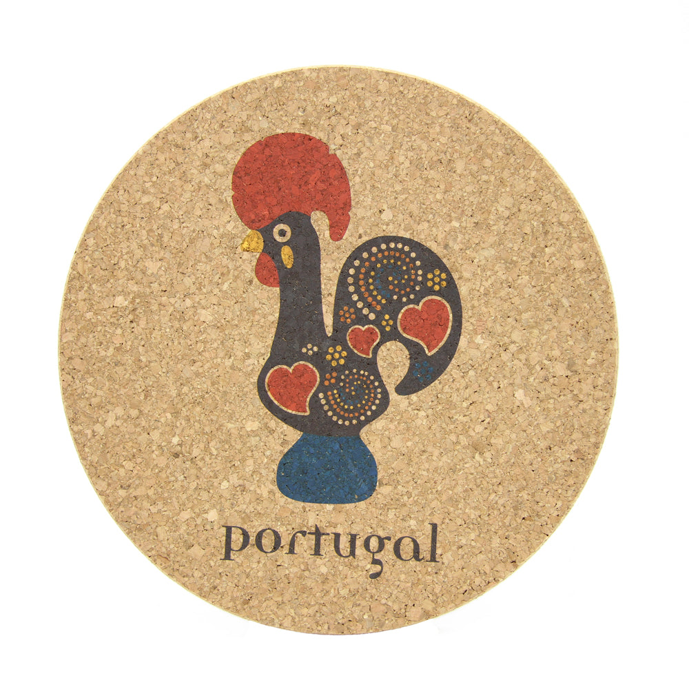 Extra Large Round Cork Trivet Portugal Themed - 2 Designs Available