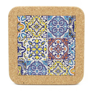 Traditional Portuguese Ceramic Tile Trivet With Cork