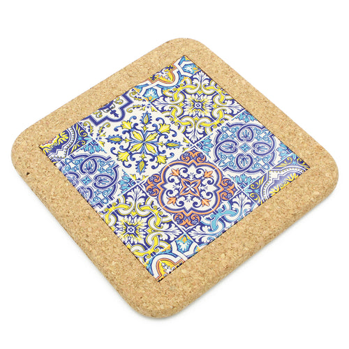 Traditional Portuguese Ceramic Hand-painted Tile Trivet With Cork