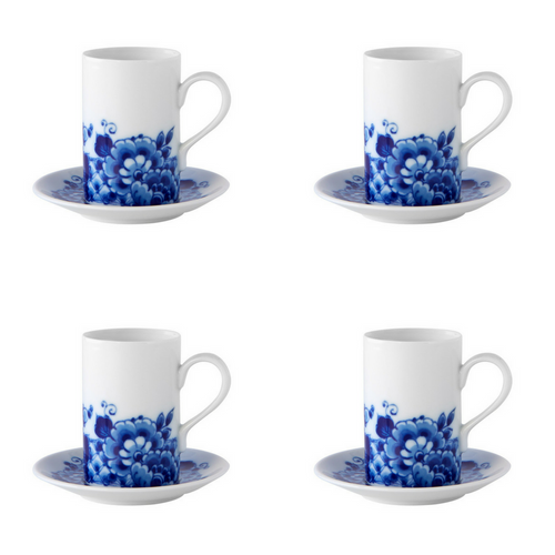 Vista Alegre Porcelain Blue Ming Set of 4 Coffee Cups and Saucers