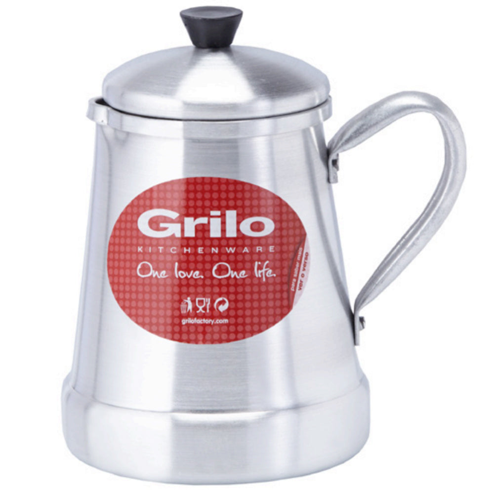 Grilo Kitchenware Stovetop Coffee Pot Frothing Pitcher With Lid - 4 Sizes Available