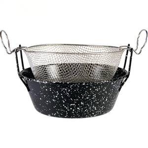Grilo Kitchenware Enamel Frying Pan With Stainless Steel Basket - 3 Sizes Available