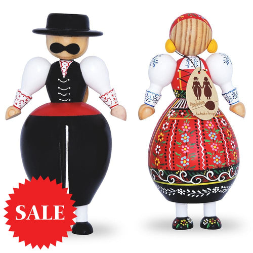Handmade Wooden Carved Traditional Portuguese Viana Rancho Figurines - Minhotos