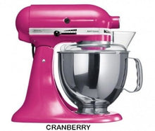 Load image into Gallery viewer, Kitchenaid Ksm150 5 Qt. 4.7 Liters Artisan Stand Mixer 220 Volts Export Only Cranberry