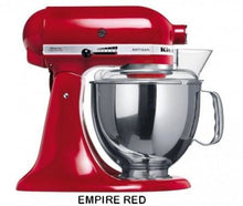 Load image into Gallery viewer, Kitchenaid Ksm150 5 Qt. 4.7 Liters Artisan Stand Mixer 220 Volts Export Only Empire Red