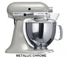 Load image into Gallery viewer, Kitchenaid Ksm150 5 Qt. 4.7 Liters Artisan Stand Mixer 220 Volts Export Only Metallic Chrome
