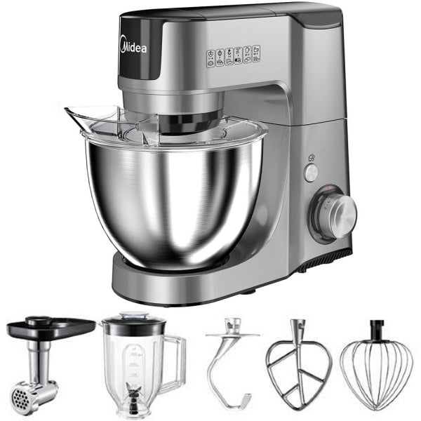 Midea Bm2096 Kitchen Machine Stand Mixer Blender & Meat Grinder 220 Volts Export Only Silver Combo