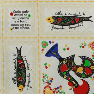 Limol 100% Cotton Sardines & Roosters Tablecloth Made in Portugal - Various Sizes