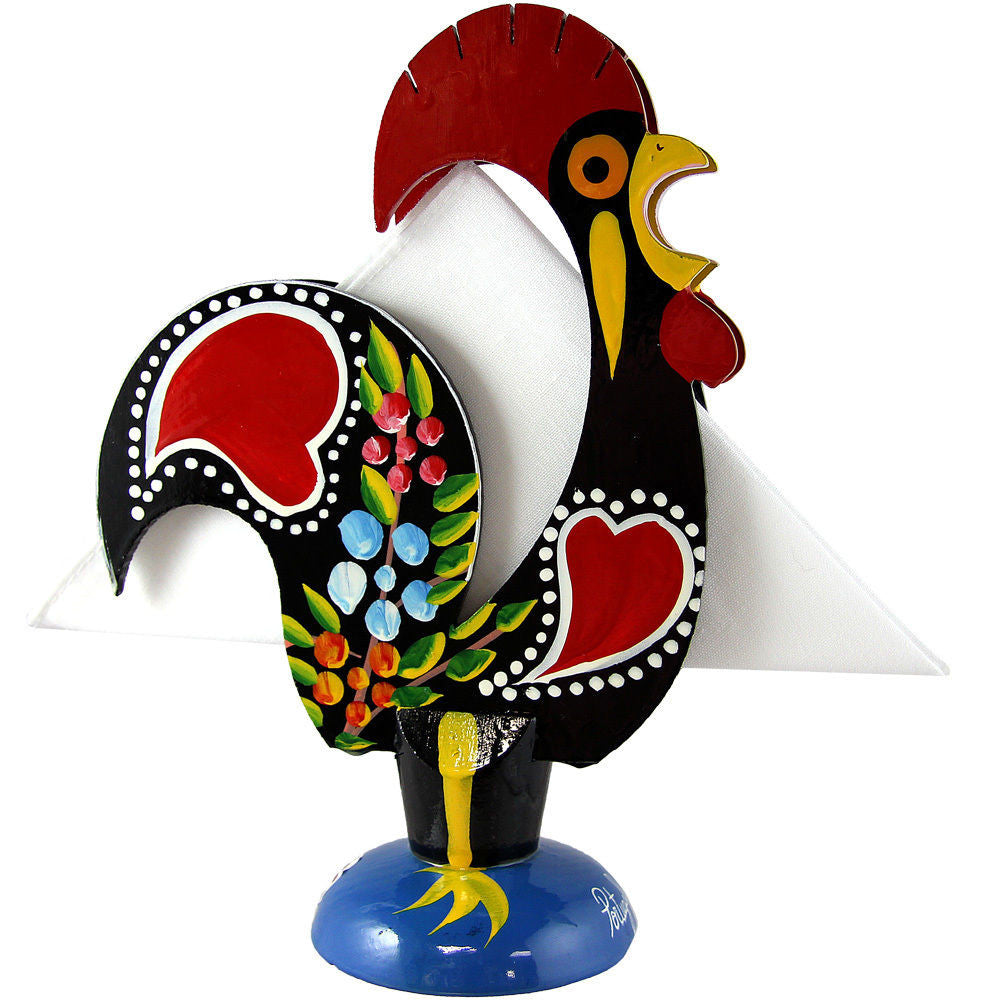Hand Painted Vintage Traditional Portuguese Wood Good Luck Rooster Napkin Holder