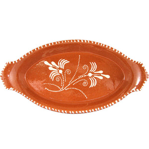 Vintage Portuguese Glazed Terracotta Clay Hand Painted Serving Platter