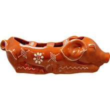 "Load image into Gallery viewer, Portuguese Traditional Sausage Roaster in Glazed Terracotta Clay ""SLEEPING PIG"""