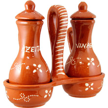 Vintage Portuguese Traditional Glazed Clay Oil & Vinegar Dispensers with Stand