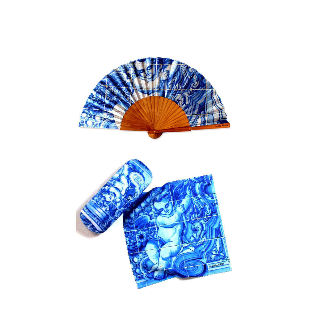 Set of Hand Fan Eyeglass Case With Cleaning Cloth 18th Century Angel Tile Themed
