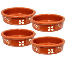 Load image into Gallery viewer, Set of 4 Portuguese Pottery Creme Brulee Dish Glazed Terracotta Clay