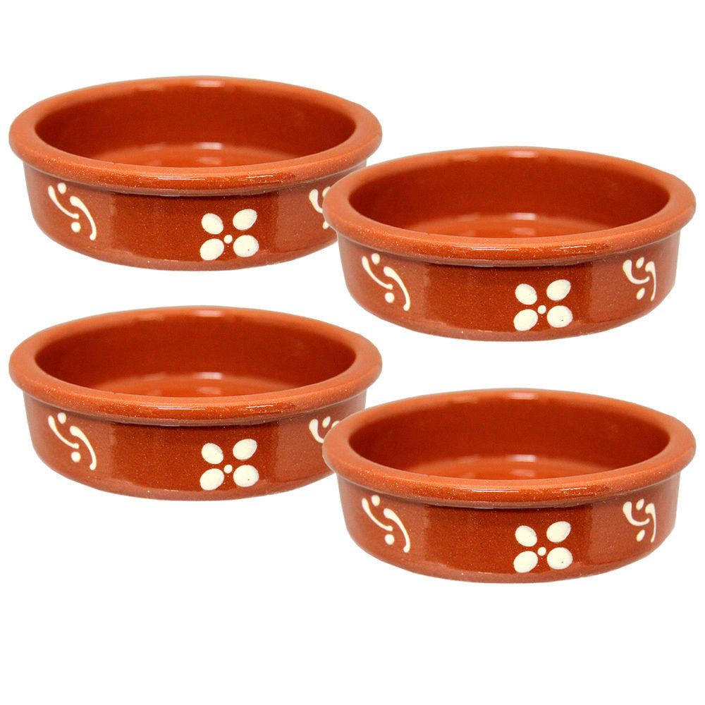 Set of 4 Portuguese Pottery Creme Brulee Dish Glazed Terracotta Clay